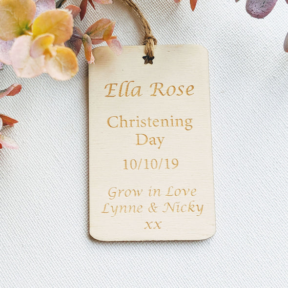 Personalised Wooden Christening Gift Tag - Rectangle