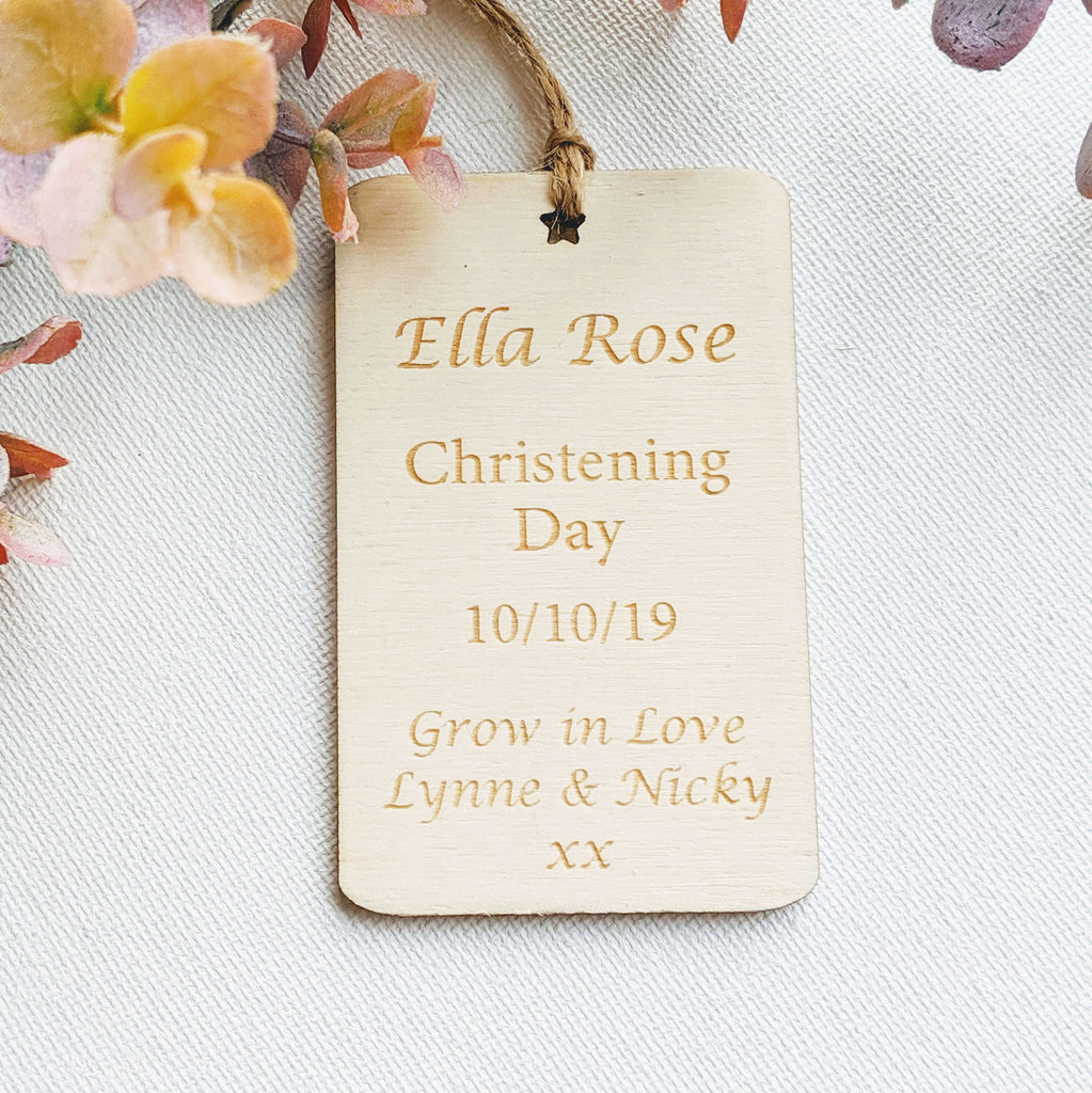 Personalised Wooden Christening Gift Tag - Star