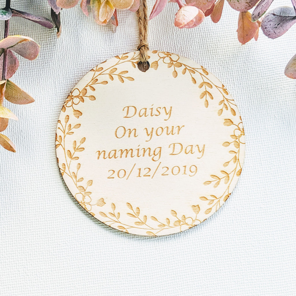 Personalised Wooden Christening Gift Tag - Circle