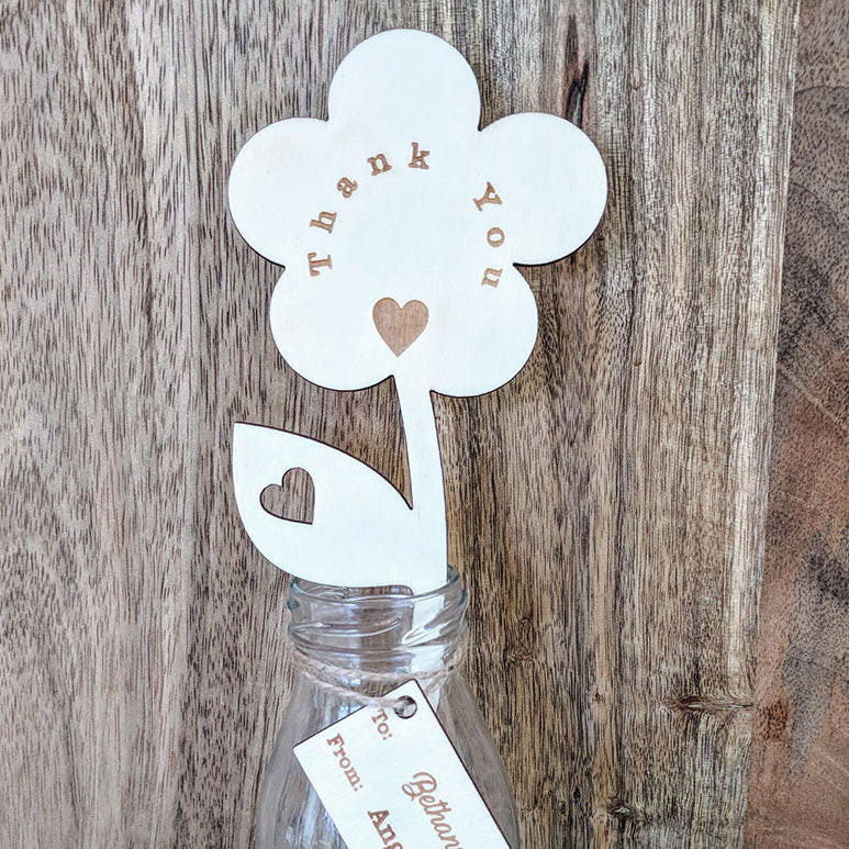 Personalised Thank You Wooden Flower with Small Vase