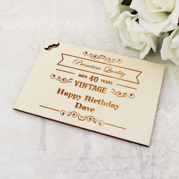 Personalised Wooden Vintage Happy Birthday Postcard