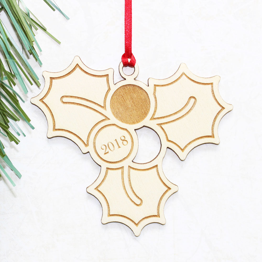 Personalised Wooden Holly Christmas Tree Ornament