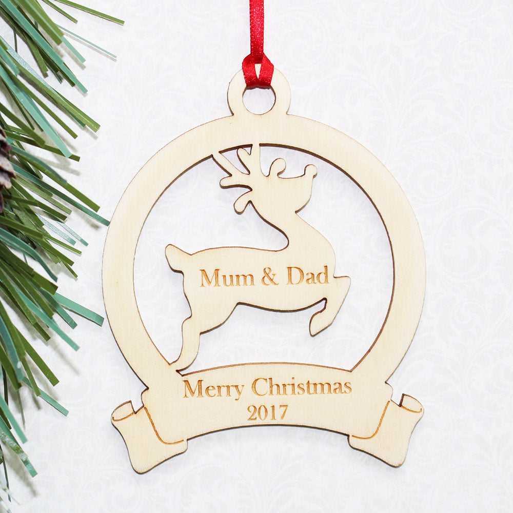 Personalised Wooden Reindeer Banner Christmas Tree Ornament