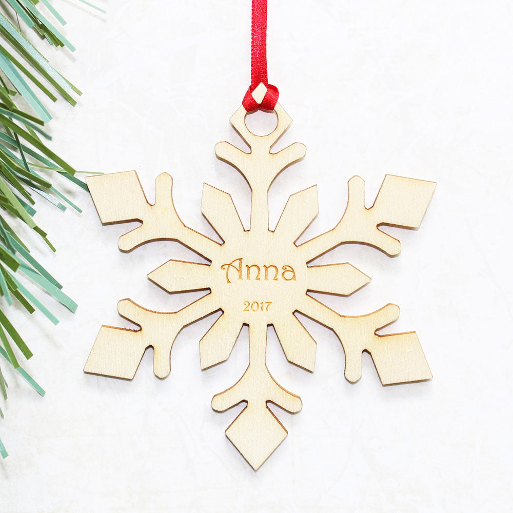 Personalised Wooden Arrow Snowflake Christmas Tree Ornament