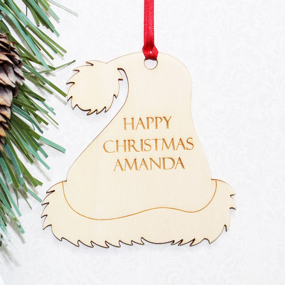 Personalised Wooden Santa Hat Christmas Tree Ornament