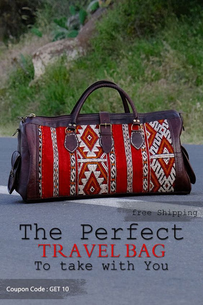 The Leather kilim travel bag