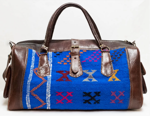 Moroccan Kilim Weekender Duffel Bag (Large) - GFM -giftsfrommorocco-morocco leather