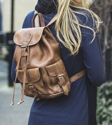 Handcrafted rucksack  leather - GFM -giftsfrommorocco-morocco leather