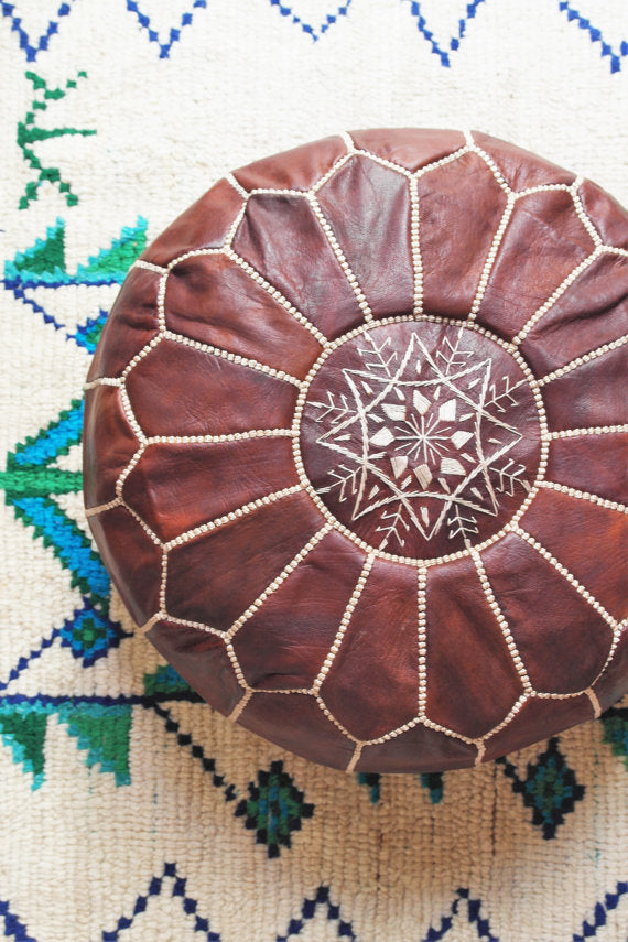 Leather moroccan pouf - GFM -giftsfrommorocco-morocco leather