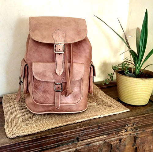Leather backpack, - GFM -giftsfrommorocco-morocco leather