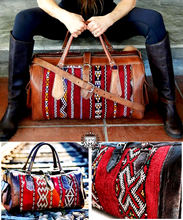 Kilim Travel Bag - GFM -giftsfrommorocco-morocco leather