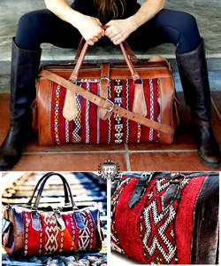 The Leather Kilim Travel Bag - GFM -giftsfrommorocco-morocco leather