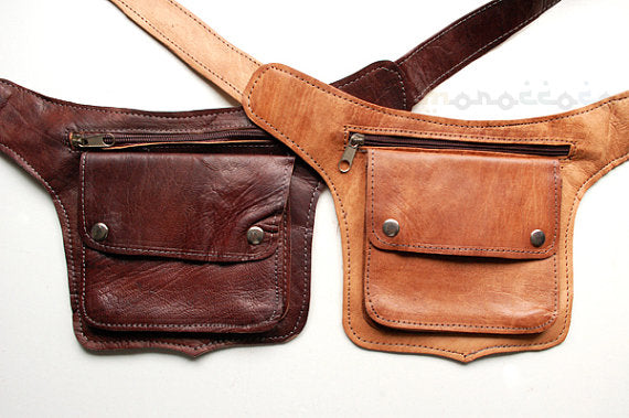 Brown Leather waist bag. Skin - GFM -giftsfrommorocco-morocco leather
