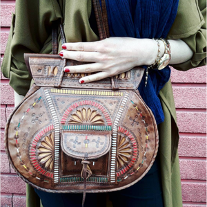 Handmade Leather Handbag - GFM -giftsfrommorocco-morocco leather