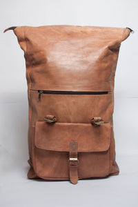 Luxury Leather Roll Top Backpack - GFM -giftsfrommorocco-morocco leather