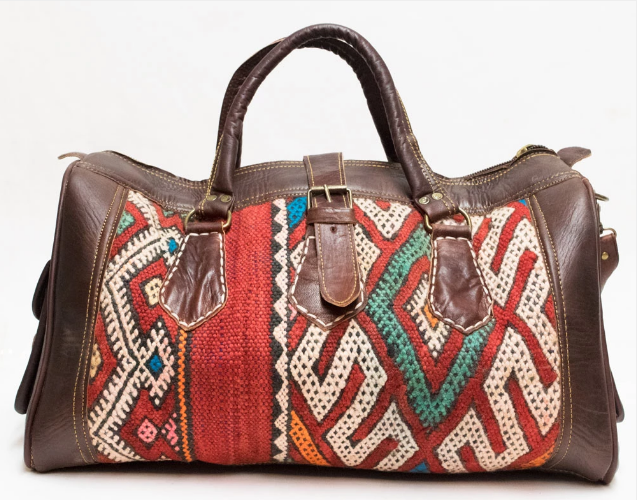 Moroccan Kilim Travel bag- red (Medium) - GFM -giftsfrommorocco-morocco leather
