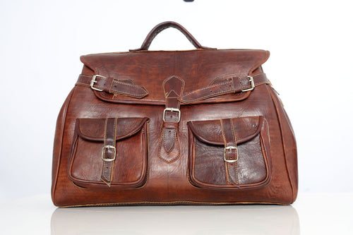 Brown leather travel bag | Summer 2019 - GFM -giftsfrommorocco-morocco leather