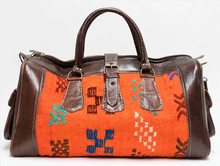 Moroccan Kilim Weekender Duffel Bag (Medium) - GFM -giftsfrommorocco-morocco leather