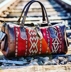 The Leather Kilim Travel Bag - GFM -giftsfrommorocco-morocco leather f5dde135fafe4