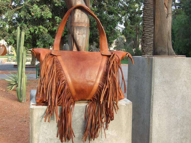 Handmade cognac leather tote bag - GFM -giftsfrommorocco-morocco leather