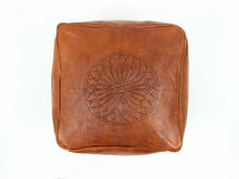 Handmade Leather Pouf - GFM -giftsfrommorocco-morocco leather