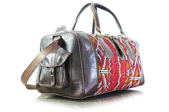 ... The Leather Kilim Travel Bag - GFM -giftsfrommorocco-morocco leather ... cf637f61de381