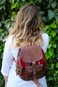 Moroccan Leather Kilim Backpack - GFM -giftsfrommorocco-morocco leather