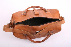 Brown Leather Weekender Bag - GFM -giftsfrommorocco-morocco leather