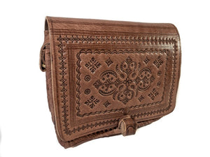 Sahara Bohemian Brown Leather bAg - GFM -giftsfrommorocco-morocco leather