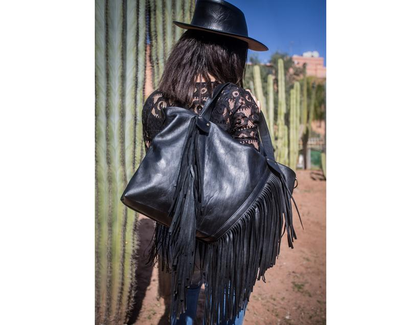 Black fringe purse, black leather crossbody bag for ladies, gothic leather bag.