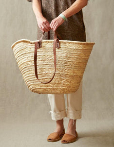 NATURAL BASKET XL with double flat leather handles, market basket, beach bag, handmade Moroccan basket double leather handles