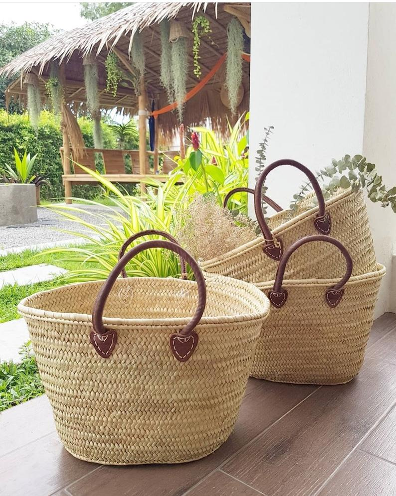 "NATURAL FRENCH BASKET ""Medina"", medium size with leather handles, market basket, beach bag, handmade french basket with leather handles"