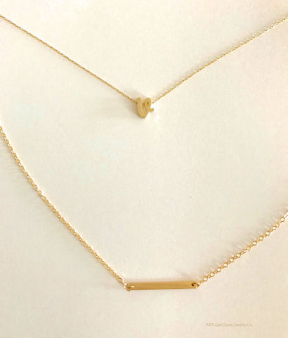 Gold Necklaces, Initials, by ARTodayCharm Jewelry Co.