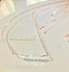crystal bar necklace and earring set in rosegold