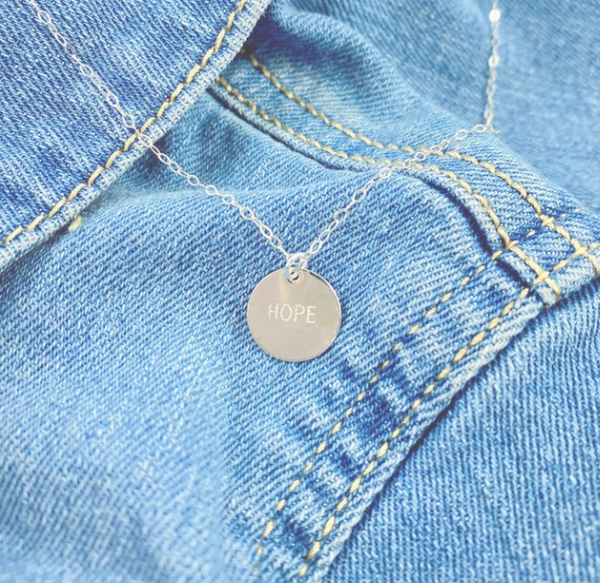 hand stamped HOPE necklace
