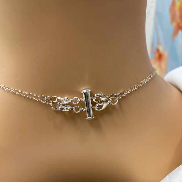 Silver Necklace Spacer Tube for 2 Layering Necklaces 1