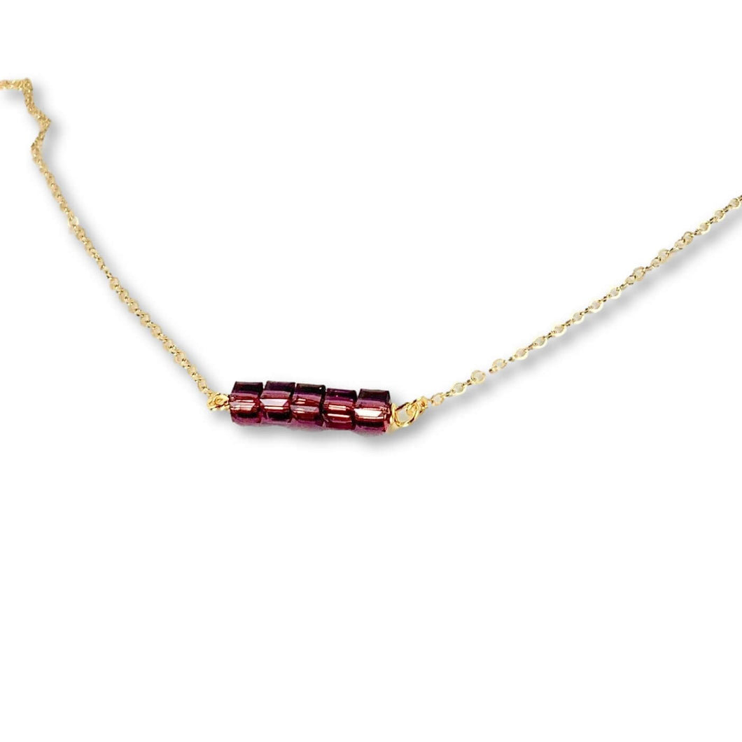 Amethyst Cube Bar Necklace - AR TodayCharm Jewelry Company
