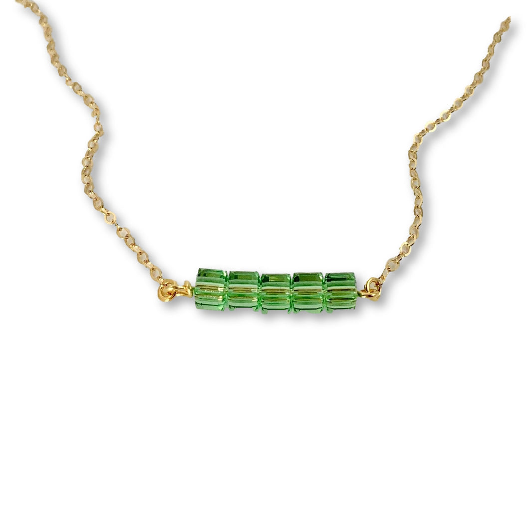 Peridot Cube Bar Necklace - AR TodayCharm Jewelry Company