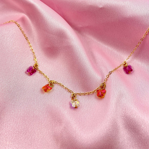Fuchsia, & Pink Orange and Clear Butterfly Choker Necklace - AR TodayCharm Jewelry Company