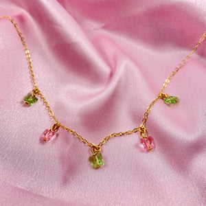 Pink & Green Butterfly Choker Necklace - AR TodayCharm Jewelry Company