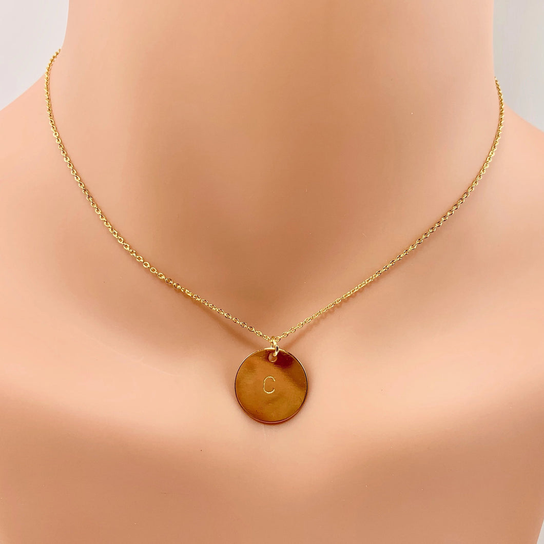 Gold Initial Disk - AR TodayCharm Jewelry Company