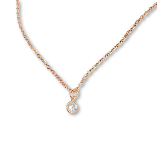 Cubic Zirconia Solitaire Necklace, 14K Rose Gold 1
