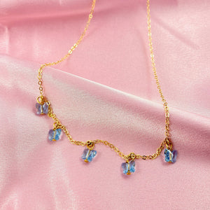 Sea Blue Butterfly Choker Necklace - AR TodayCharm Jewelry Company