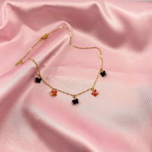 Jet Black & Astral Pink Butterfly Choker Necklace - AR TodayCharm Jewelry Company