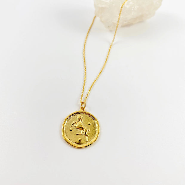 Aries Zodiac Medallion Disk Necklace, 14K Gold 1