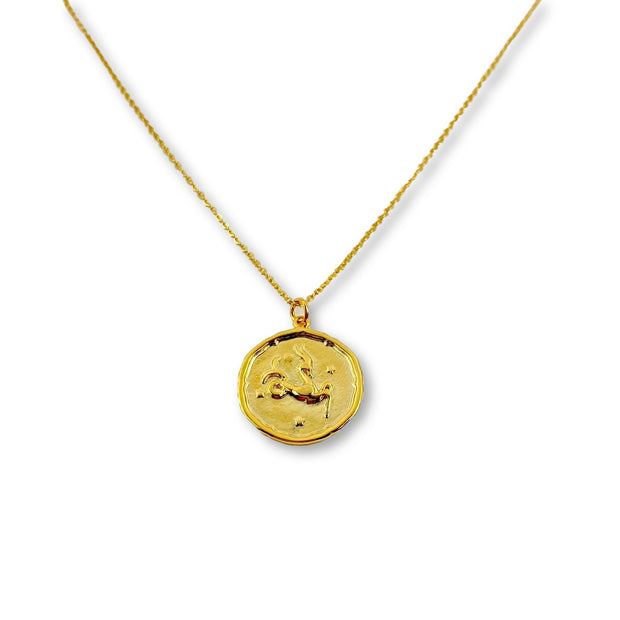 Capricorn Zodiac Medallion Disk Necklace, 14K Gold 1