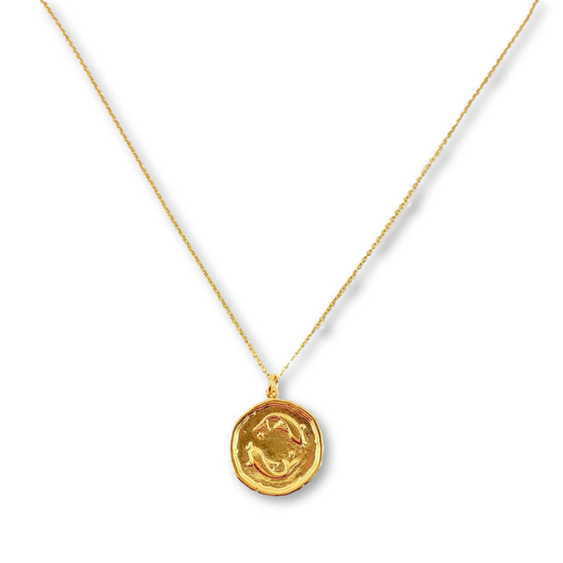Pisces Zodiac Medallion Disk Necklace, 14K Gold 1