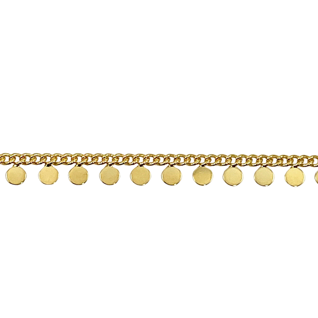 Tiny Gold Sequin Coin Choker Necklace, 18K Gold Plate 1