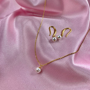 Single Pearl Necklace  & Earring Set, 14K Gold, Swarovski