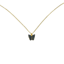 Load image into Gallery viewer, Black Pearl Butterfly Necklace, 14K Gold